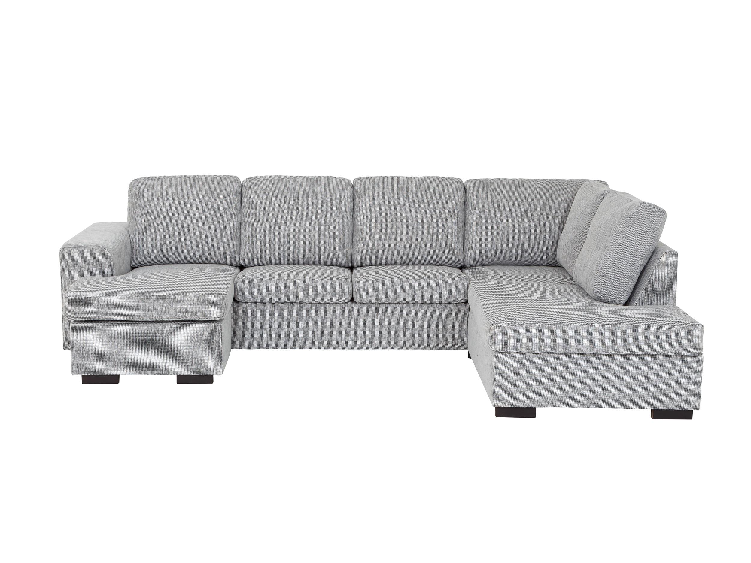 Stor grå hörnsoffa i textil med divan.